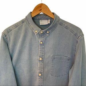 Asos Men Size L Shirt Tall Denim Long Sleeves